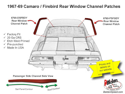 rear window rust repair,window channel patch panels,Chevelle,Monte Carlo,GTO,LeMans,Tempest,Cutlass,Camaro,Firebird,Beldenspeed,Belden Speed & Engineering