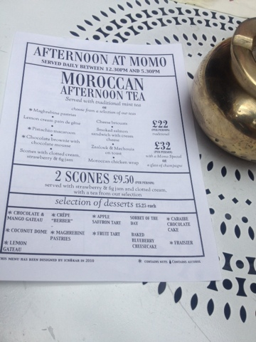Afternoon tea at Momo features baklava and scones