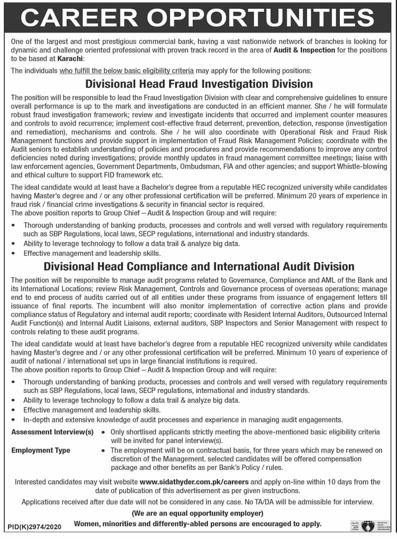 This page is about Largest and Most Prestigious Commercial Bank Jobs May 2021 Latest Advertisment. Largest and Most Prestigious Commercial Bank invites applications for the posts announced on a contact / permanent basis from suitable candidates for the following positions such as Divisional Head Fraud Investigation Division, Divisional Head Compliance and International Audit Division. These vacancies are published in Dawn Newspaper, one of the best News paper of Pakistan. This advertisement has pulibhsed on 03 May 2021 and Last Date to apply is 12 May 2021.