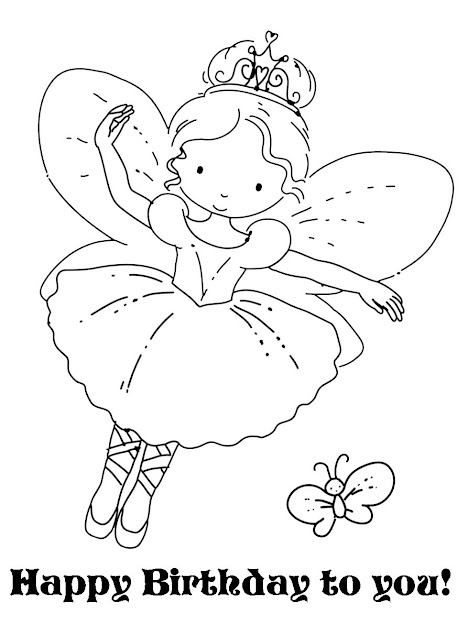 Free Fairy Coloring Pages  Cute Fairy With Her Butterfly Print And Color  It