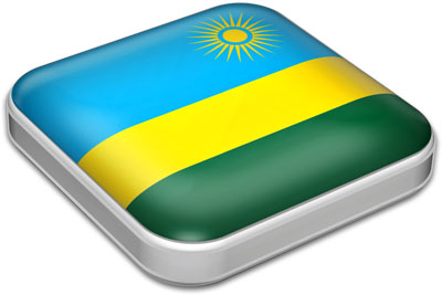 Flag of Rwanda with metallic square frame