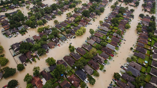 Aerial view of flooding in Houston, Texas, after Hurricane Harvey. Photo: CNN