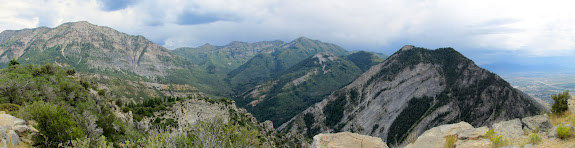 Summit panorama showing Cascade Mountain, Freedom Peak, Provo Peak, and Y Mountain