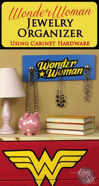 Wonder woman jewelry organizer using cabinet hardware