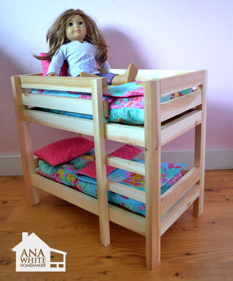 "Ana White | Doll Bunk Beds for American Girl Doll and 18"" Doll - DIY ..."