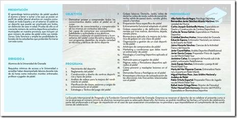 """Objetivos y Programa """"Diploma en Enseñanza de Pádel¨ (7º edición) 2016."""