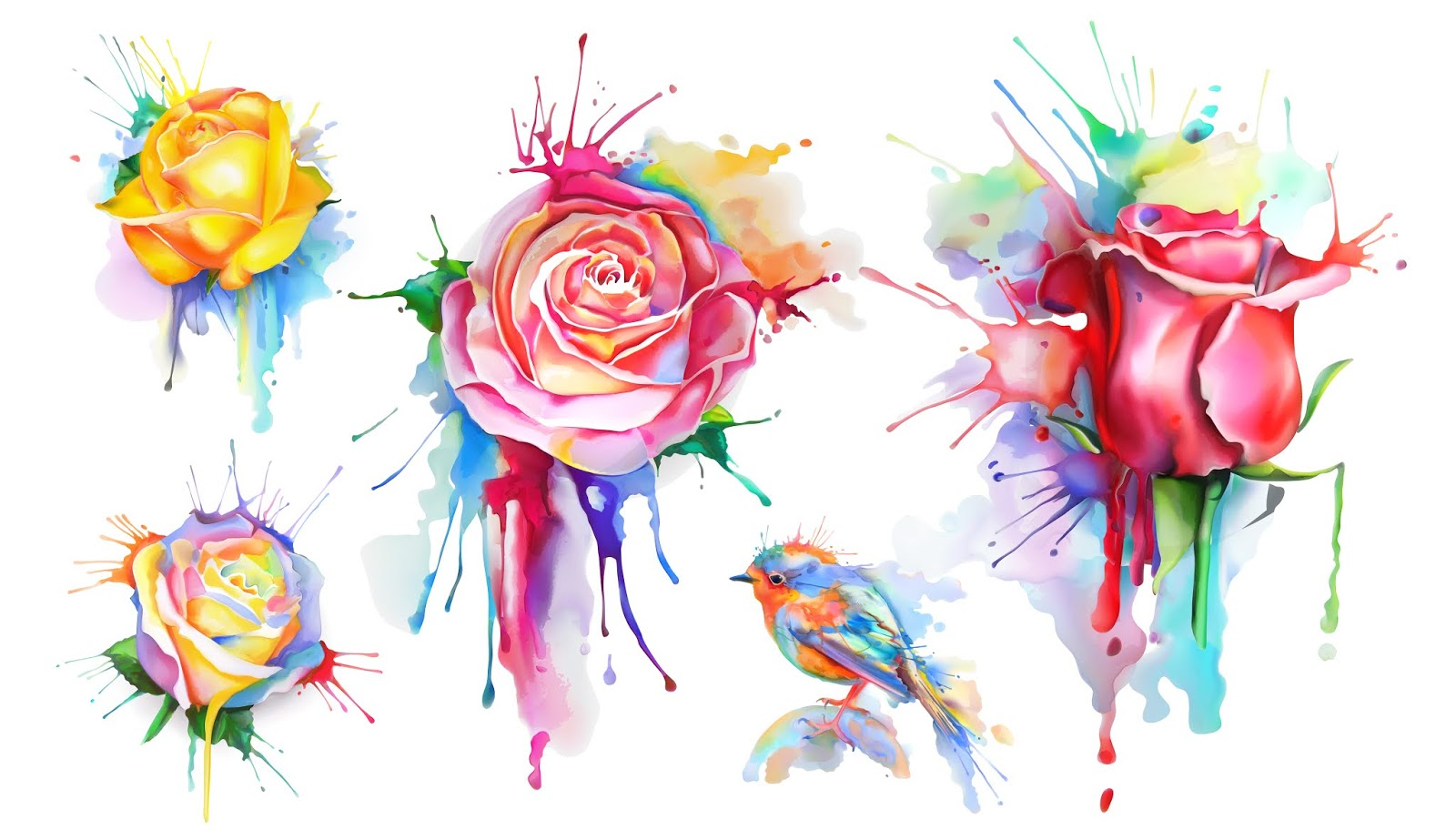 Watercolor Roses Set Vector Icons Free Download Vector CDR, AI, EPS and PNG Formats