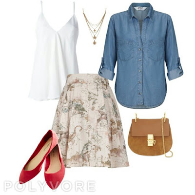 consultoria de imagem, be ceative, casual sunday: saia bege com padrão leve, top branco, camisa de ganga, sabrinas vermelhas, mala camel a tiracolo