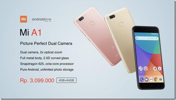Harga Xiaomi Mi A1 di Indonesia 3,1 Juta