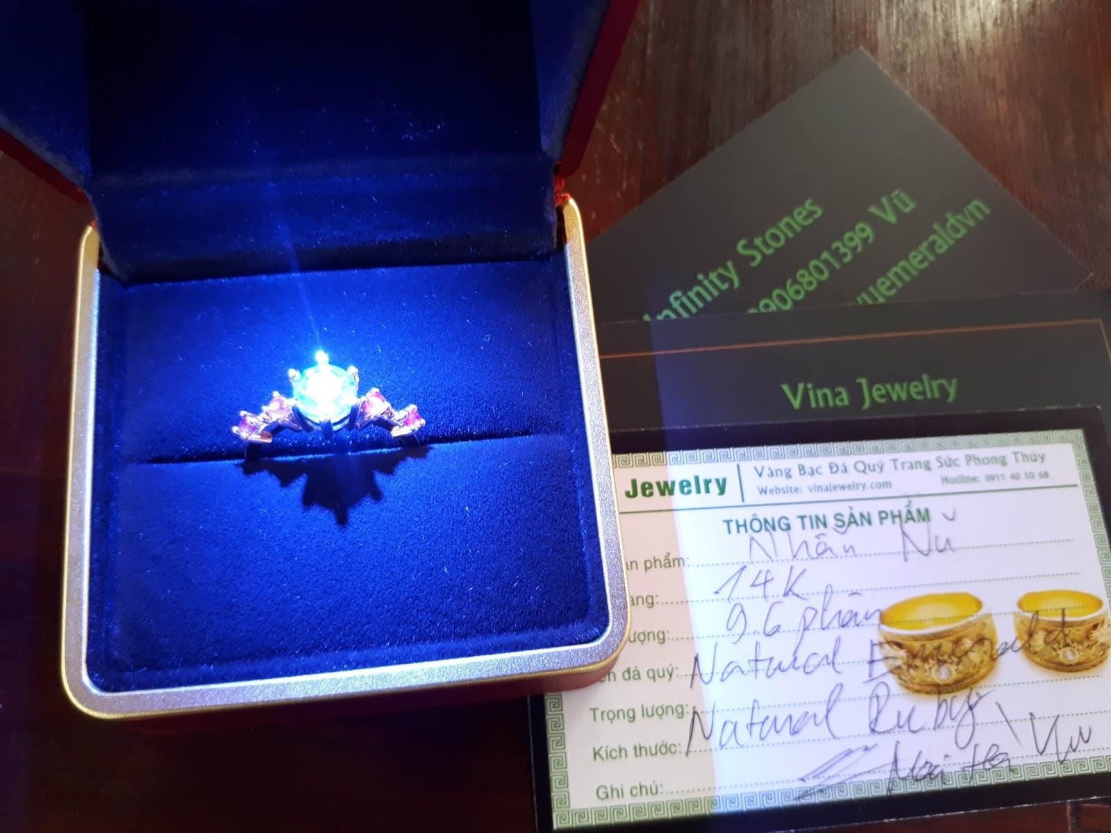 Ngọc Lục Bảo Colombia, Natural Emerald hàng tròn giác xoàn lên nhẫn lấp lánh