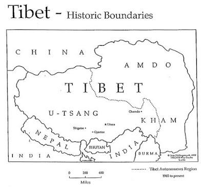 Boundaries of Tibet in 1914