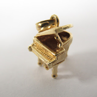 14K Gold Grand Piano Pendant