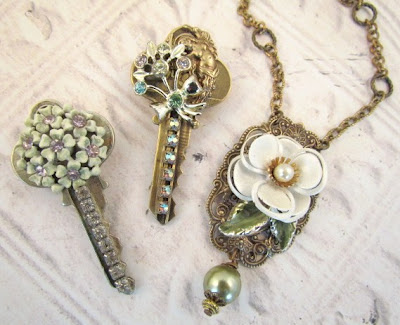 recycled keys with vintage jewelry
