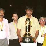 The Team of Four Event Winners with the Ashok R. Ruia Gold Trophy  From L to R: B. Satyanarayana, Subhash Gupta, Sunit Chokshi, Rajesh Dalal, Mrs . Kiran Nadar, K.R. Venkatraman