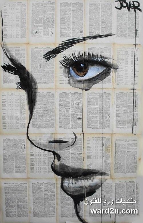 تعبيرات ومشاعر خاصة على اوراق الكتب القديمة للفنان Loui Jover
