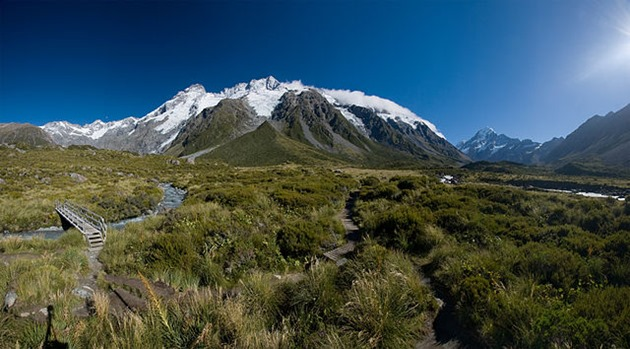 The Main Divide with Mt. Sefton and The Footstool, view from Hooker Valley.