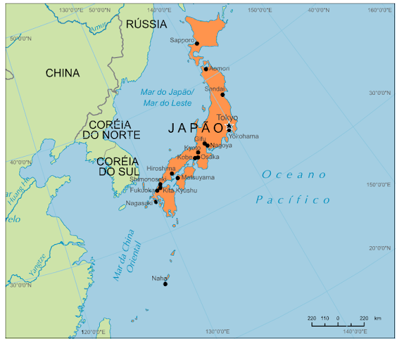 japão mapa Blog de Geografia: Mapa do Japão japão mapa
