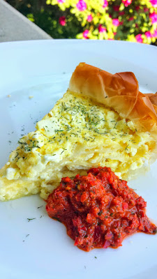 Balkan Cheese Pie, or Burek, here with Adjika Sauce - recipe for both on http://pechluck.com