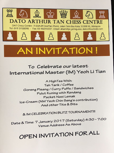 IM Celebration Blitz Tournament for IM Yeoh Li Tian