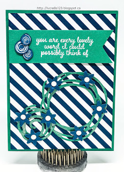 Linda Vich Creates: Swirly Bird Meets Love & Affection. Swirly Bird stamps and matching dies are combined with angled stripes in this Emerald Envy and Dapper Denim color-schemed card.