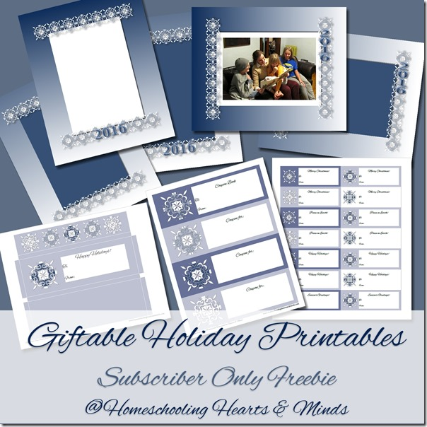 Giftable Holiday Printables Subscriber Freebie @Homeschooling Hearts & Minds