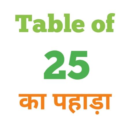 25 Ka Pahada ( 25 का पहाड़ा ) 25 ka pahada in hindi - Group Exam