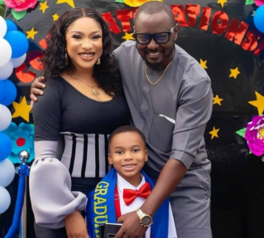 ''Heaven rewrote my story and made it better''- Tonto Dikeh writes as she shares photos of herself and her man, Prince Kpokpogri, at her son's graduation ceremony