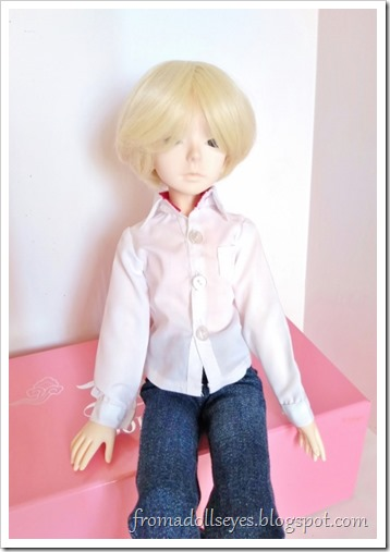 A white button down shirt for a msd bjd, now worn by its new owner.  It looks nice on him, fits well.