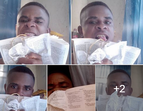 Photos: Nigerian boy destroys the bible, says it is from the devil and he uses it for toilet