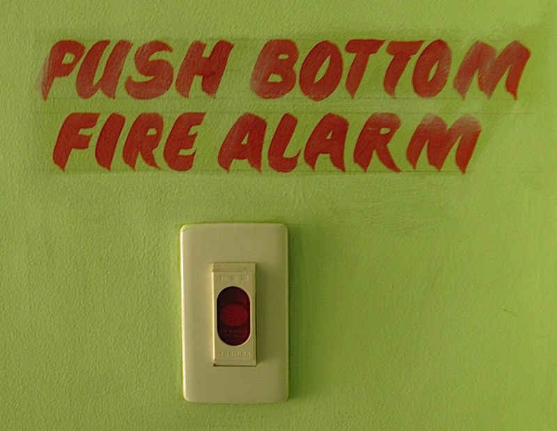 funny fire alarm sign