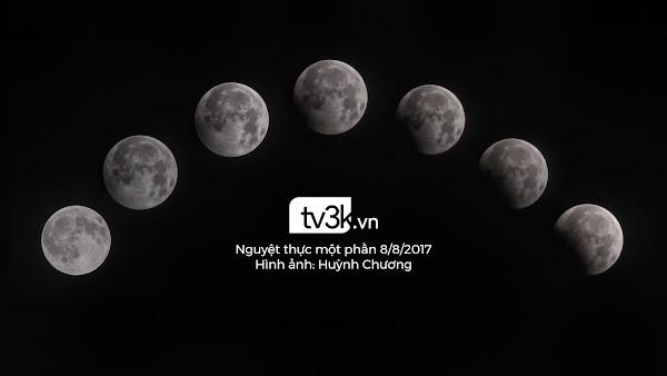 Diễn biến Mặt Trăng dần đi vào vùng bóng tối của Trái Đất khi xảy ra nguyệt thực từ 11 giờ khuya cho đến 1 giờ 30 sáng hôm sau. Hình ảnh: Huỳnh Chương.