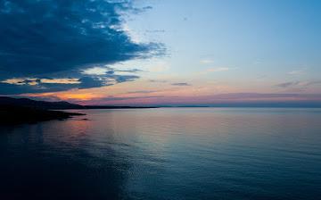 Sunset over Black sea Achtopol Bulgaria