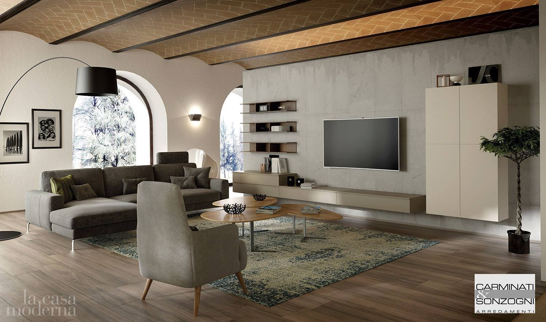 mobile moderno da soggiorno con basi sospese collezione solida day.jpg
