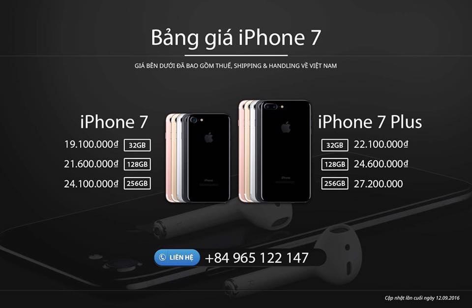 Nhận order iPhone 7 xách tay từ Mỹ về Việt Nam chỉ 19 triệu
