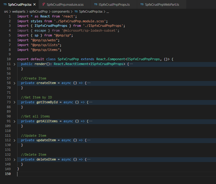 SPFx Crud using pnp js