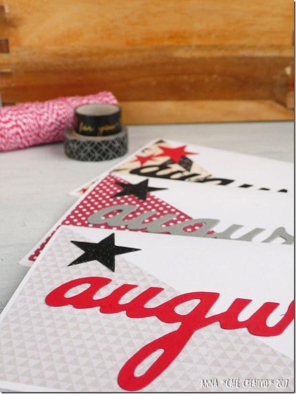 Set di card maschili con scritta Auguri tagliata con la Big Shot