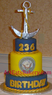 Navy Reserves three tier yellow, blue and gold birthday cake with silver sugar anchor topper
