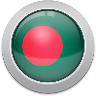 Bangladeshi flag icon with a silver frame