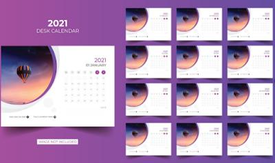 Design Kalender Dinding Paduan Gambar dan Outline Violet | Design Kalender Gratis