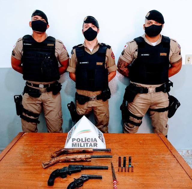 Divino: Homens são presos com armas de fogo;  Ação da PM evitou um crime maior