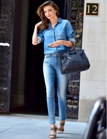 265d8c9003 This look requires your favourite pair of blue skinny jeans teamed with a  loose button down shirt tee (plain or patterned). Add a classic denim jacket  to ...