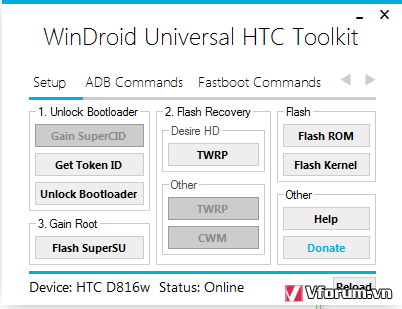 Unlock Bootloader + Root HTC Desire 816 dễ dàng bằng WinDroid