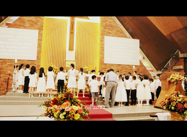 The kids participating in mass