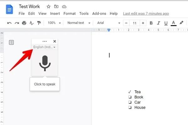 جوجل دوكس صوت الكتابة تغيير اللغة