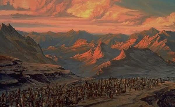 """遵守逾越節之後,以色列百姓走出埃及-電影""""埃及王子""""劇照。"""