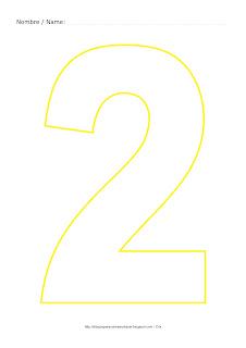 Lámina para colorear y pintar el número dos en color amarillo
