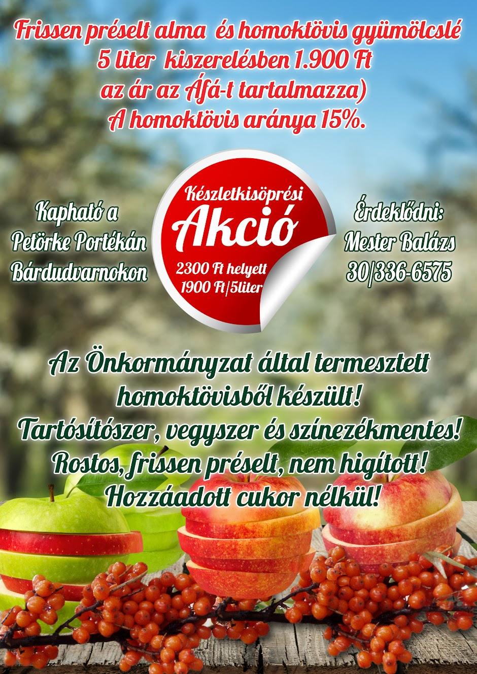 Homoktövis és alma friss gyümölcslé akció 2016