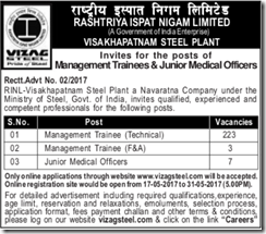 RINL Vizag Steel MT & Junior Medical Officers Notice 2017 www.indgovtjobs.in