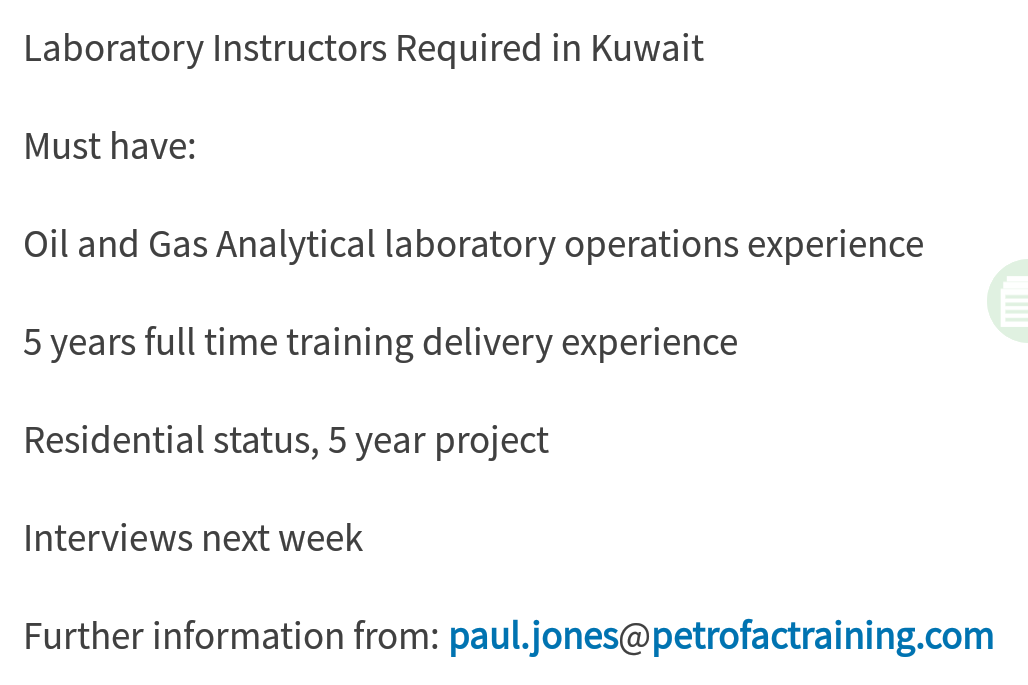Oil and Gas Jobs: Laboratory Instructors Required in Kuwait