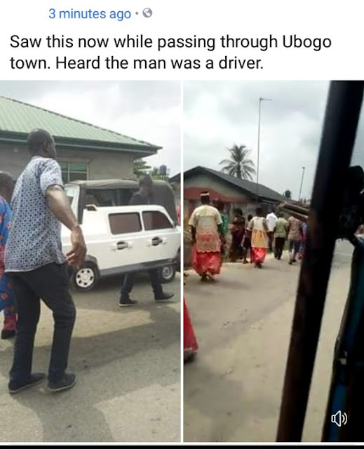 A man took to Facebook to share photos of what he saw today in Ubogo town,Delta.